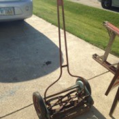 Value and Age of a Jacobsen Manual Reel Mower - mower in driveway