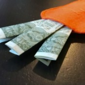 A felt pocket resembling a carrot with money poking out of the top.