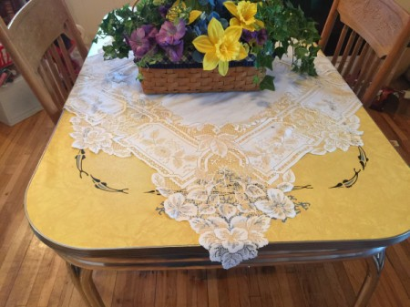 Cleaning and Polishing Vintage Formica Tabletop - yellow vintage table