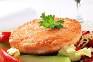Tasty pan fried salmon patty.