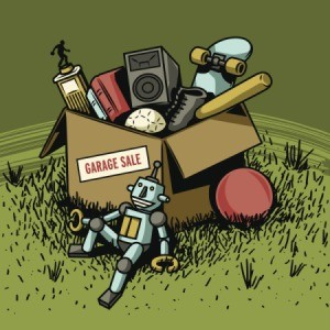 An illustration showing a box of garage sale items.