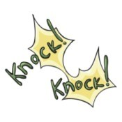 An illustration that says knock knock.