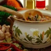 A pot of vegetable soup.