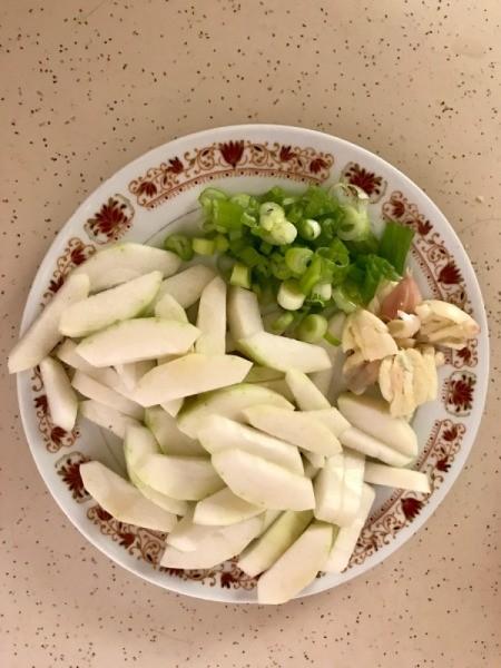 Opo Squash, Tofu, Tomato and Shrimp Soup