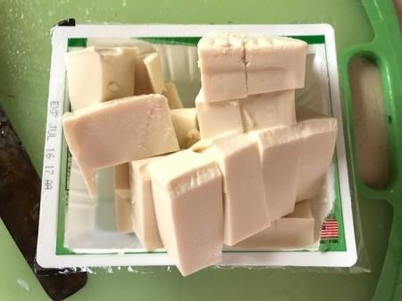 cut tofu on package