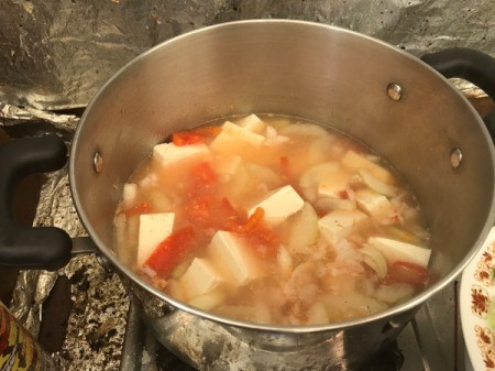 Opo Squash, Tofu, Tomato and Shrimp Soup cooking in pan