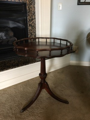 Value of Mersman Table #7223 - three legged pedestal table with rail