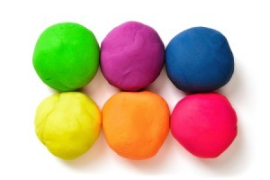 6 balls of colorful play dough.