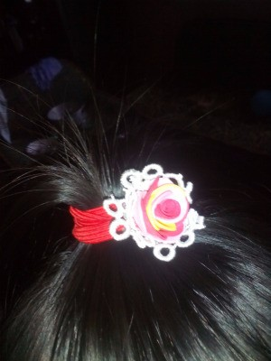 Ponytail Holder Made of Scrap Materials - around pony tail