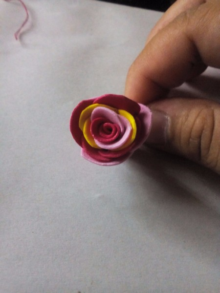 Ponytail Holder Made of Scrap Materials - small foam flower
