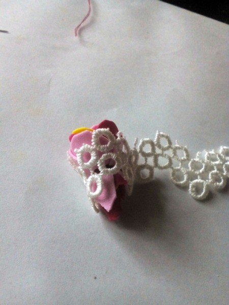 Ponytail Holder Made of Scrap Materials - wrap lace around the flower