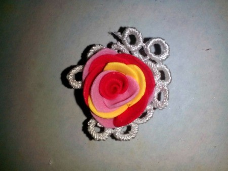 Ponytail Holder Made of Scrap Materials - lace wrapped flower
