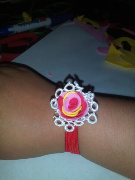 Ponytail Holder Made of Scrap Materials - used as a wristband