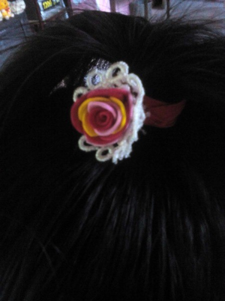 Ponytail Holder Made of Scrap Materials - used in hair