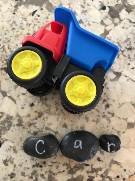 "Alphabet Rocks - rocks spelling out  ""car"""