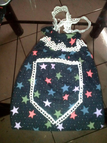 Pouch Made of Old Mini Dress - use last of lace for handles, turn right side out