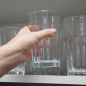Removing Drinking Glass from Cupboard