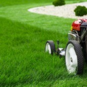 A lawn mower in the process of mowing a lush green lawn.
