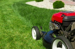 A red lawn mower being using to mow a lawn.