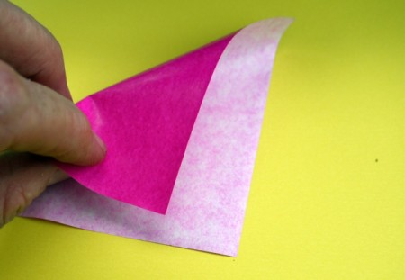 Paper Flower Decorations - fold in half diagonally