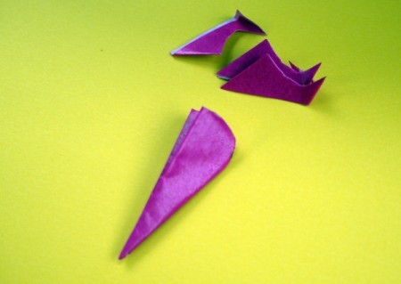 Paper Flower Decorations - cut off the excess triangle piece