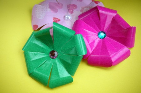 Paper Flower Decorations - three finished flowers