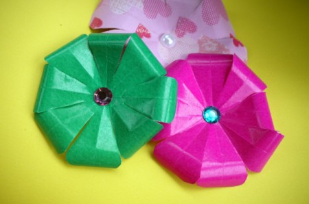 Paper Flower Decorations - the three finished flowers