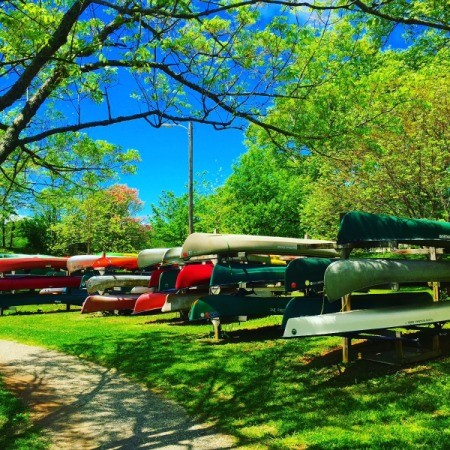 A collection of kayaks, canoes and other boats stacked on a green lawn.