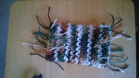 Crochet Mug Rugs - tie fringe as for an afghan