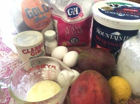 Lemon Glazed Mango Bundt Cake ingredients