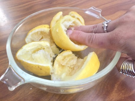 A bowl of leftover lemons, used for brightening nails.