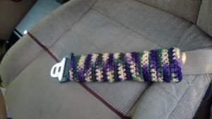 Crocheted Seat Belt Adjuster - in place on seat belt