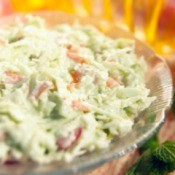 A bowl of coleslaw.