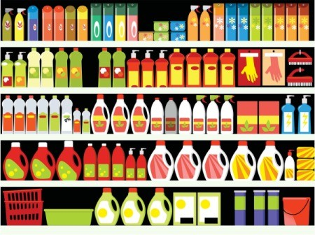 An illustration of cleaners at a store.