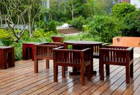 Beautiful wood patio furniture.