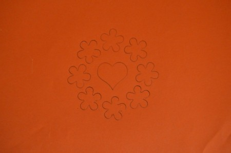 Colorful Summer Bleached Greeting Card - place stencil on the orange paper and trace with pencil