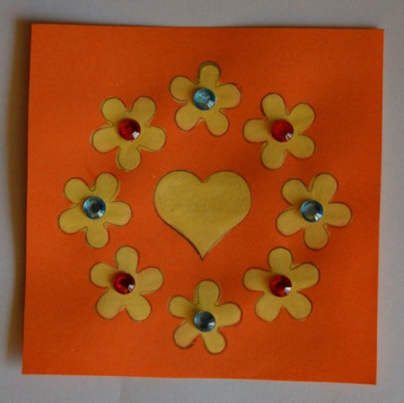 Colorful Summer Bleached Greeting Card - bleached motif with rhinestones added to flower centers