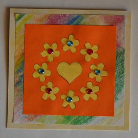 Colorful Summer Bleached Greeting Card - with fold at top center the colored paper and glue in place then position the bleached motif piece on top and glue