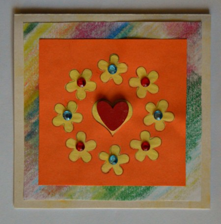 Colorful Summer Bleached Greeting Card - glue red heart to center over heart shaped area of bleached motif