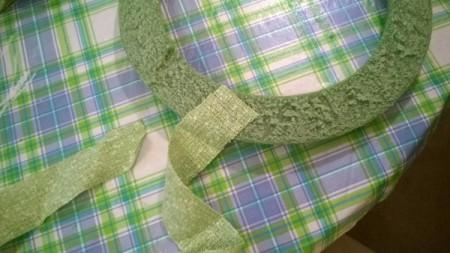Crochet Daisy Wreath - ready to wrap with fabric strips