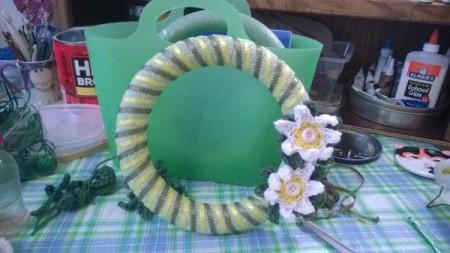 Crochet Daisy Wreath - green ribbon added and daisies glued on