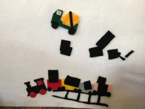 Felt Story Board - train and construction equipment felt shapes