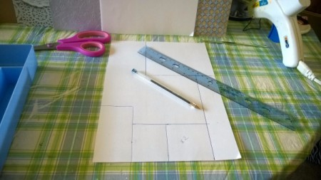 The Little Shelf Unit That Could - make template for cutting paper for each section
