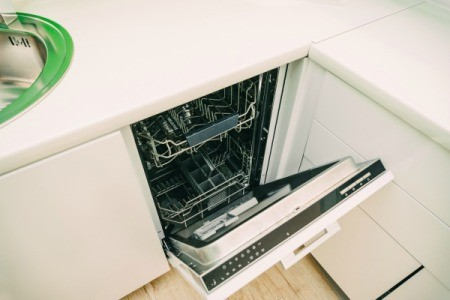 Dishwasher with the door open.