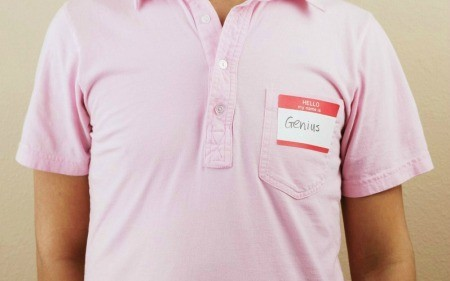 A name tag sticker on a shirt.