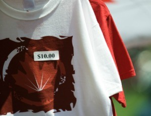 A price tag sticker on a shirt.