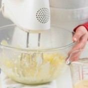 Using a mixer to make pie crust.