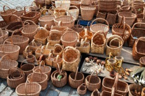 Wicker products at a market.