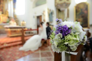 A wedding at a church.