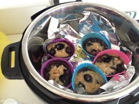 Pressure Cooker Lemon Blueberry Muffins